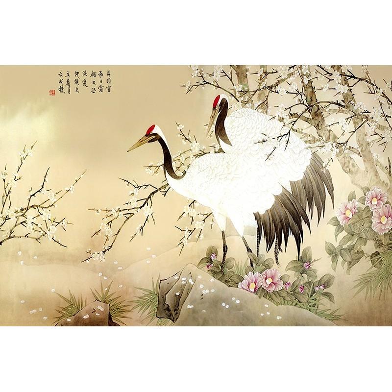 Papier Peint Chinois Sur Mesure Tapisserie Numerique Paysage Grue De