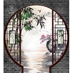 Papier peint 3D asiatique paysage zen format portrait - Jardin traditionnel chinois