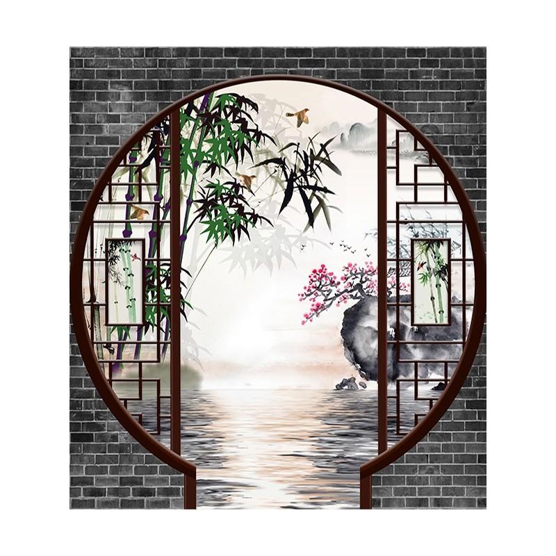 papier peint 3d asiatique sur meaure paysage zen jardin tradionnel chinois papier peint sol 3d. Black Bedroom Furniture Sets. Home Design Ideas