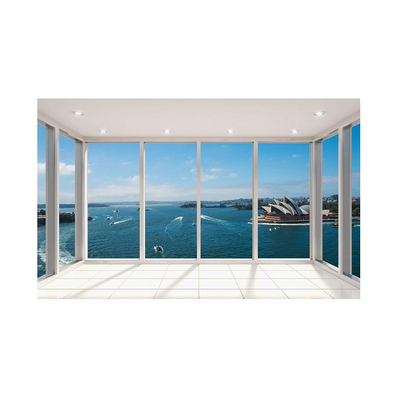 papier peint paysage trompe l 39 oeil effet 3d extension d 39 espace op ra de sydney. Black Bedroom Furniture Sets. Home Design Ideas