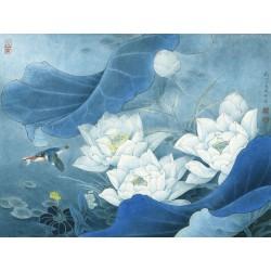 Tapisserie vintage style asiatique - Les lotus blancs et l'oiseau dans la nuit