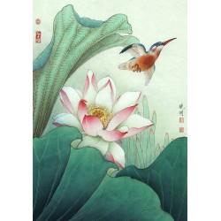 Tapisserie asiatique - Lotus rose avec l'oiseau