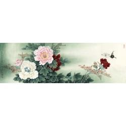Tapisserie asiatique grand format panoramique - Les pivoines et les papillons