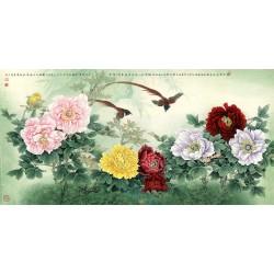 Tapisserie asiatique grand format panoramique - Les pivoines et les oiseaux