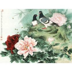 Tapisserie asiatique - Les pivoines et les oiseaux 2