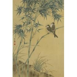 Tapisserie asiatique format portrait (vertical) - Les bambous et les oiseaux aspect ancien