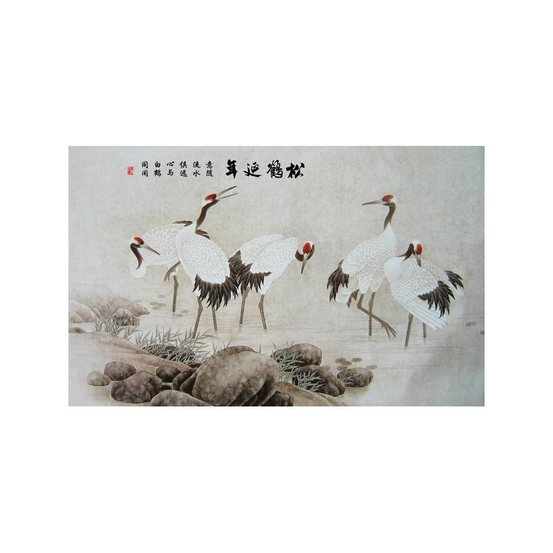 Peinture l 39 encre de chine papier peint asiatique tapisserie vintage les grues au sommet vermillon - Confiture de nefles du japon ...