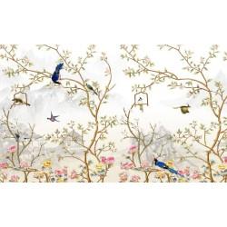 Tapisserie florale style asiatique - Paysage avec les fleurs et les oiseaux