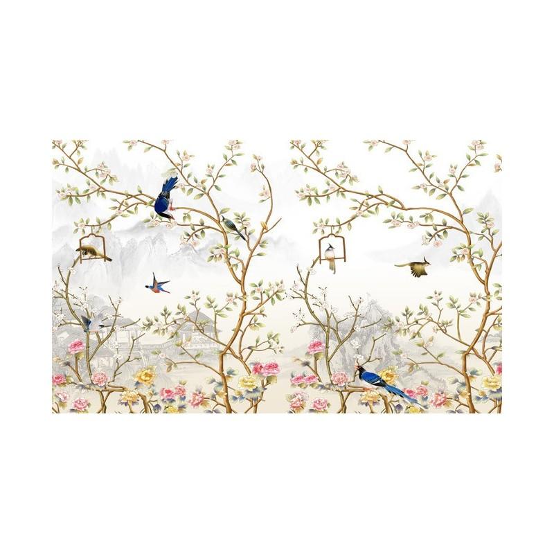 peinture l 39 encre de chine papier peint asiatique tapisserie zen paysage avec les fleurs et les. Black Bedroom Furniture Sets. Home Design Ideas