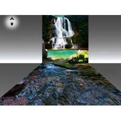 Décor combiné mur & sol - Paysage de la cascade et la rivière - Partie mur