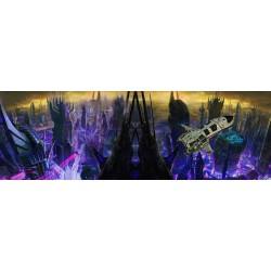 Scène science-fiction grand format panoramique - Future ville et vaisseau spatial