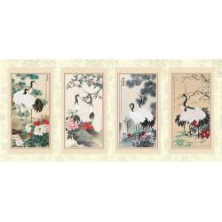 Composition de 4 tableaux d'artiste asiatique - Les grues du Japon
