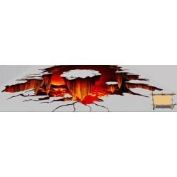 Revêtement de sol trompe l'œil effet 3D - Eruption de volcan