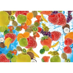 Revêtement de sol trompe l'œil effet 3D - Les fruits dans l'eau pétillante