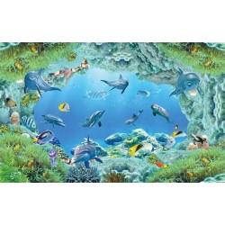 Revêtement de sol trompe l'œil effet 3D - Les dauphins et les poissons dans le rocher fond marin