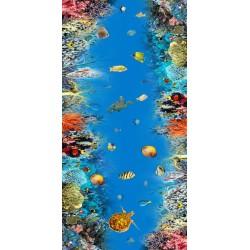 Revêtement de sol fond marin trompe l'œil effet 3D - Les tortues et les poissons dans le massif coralien