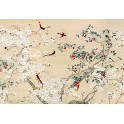 Tapisserie florale style asiatique - Les magnolias blancs et les oiseaux rouges