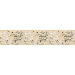 Tapisserie florale style asiatique grand format panoramique - Les magnolias blancs et les oiseaux rouges