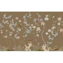 Tapisserie florale style asiatique - Les fleurs et les oiseaux sur fond marron