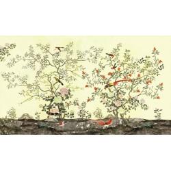 Tapisserie florale style asiatique - Les fleurs et les oiseaux sur fond vert pastel