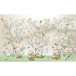 Tapisserie florale style asiatique - Les fleurs et les oiseaux sur fond gris clair