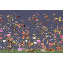 Tapisserie florale style asiatique - Les fleurs et les oiseaux sur fond violet