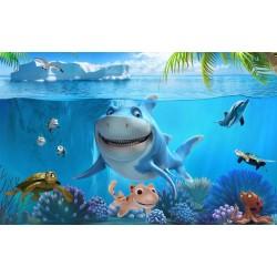 Décoration murale chambre d'enfant tapisserie paysage fond marin - Le requin et les tortues
