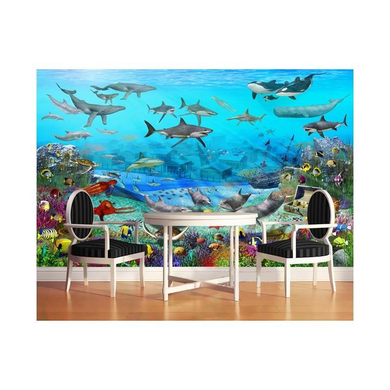 poster g ant xxl papier peint photo personnalis paysage fond marin ville engloutie et le tr sor. Black Bedroom Furniture Sets. Home Design Ideas