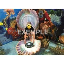 Création du visuel décor combiné mur-sol  trompe l'oeil effet 3D sur mesure