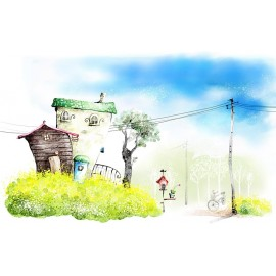 Paysage pour enfant - Dessin aquarelle - Maison en carton
