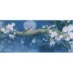 Papier peint asiatique esprit zen grand format panoramique - Les fleurs de cerisier et les oiseaux dans la nuit