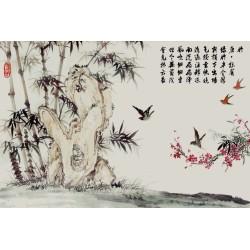 Peinture asiatique esprit zen - Les bambous, les oiseaux et le poème