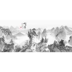 Peinture asiatique en noir et blanc - Paysage de la montagne avec chute d'eau