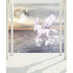 Papier peint 3D format vertical - Cheval ailé au crépuscule