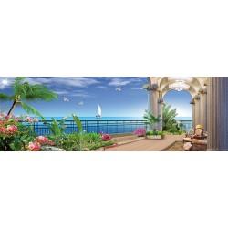 Papier peint 3D grand format panoramique - Paysage de la mer - Extension d'espace