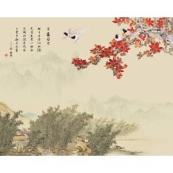 Peinture asiatique aspect ancien - Maison dans la forêt de bambou, les fleurs et les oiseaux