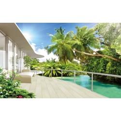 Papier peint photo trompe l'œil effet 3D - Paysage tropical avec les cocotiers - Extension d'espace
