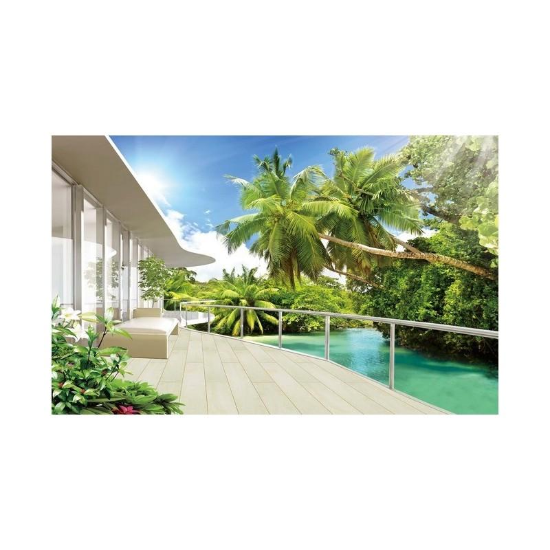 extension d 39 espace papier peint photo trompe l 39 il effet 3d paysage tropical avec les cocotiers. Black Bedroom Furniture Sets. Home Design Ideas