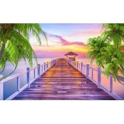 Papier peint photo trompe l'œil effet 3D - Coucher du soleil sur la mer tropicale - Extension d'espace