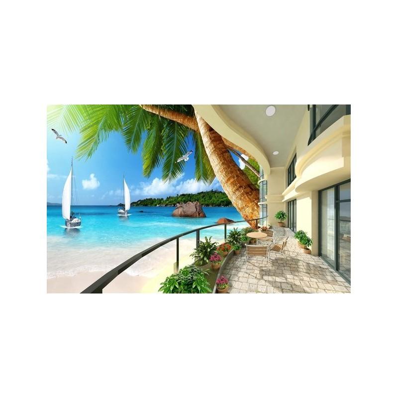 extension d 39 espace papier peint photo trompe l 39 il effet 3d paysage mer tropicale avec les. Black Bedroom Furniture Sets. Home Design Ideas