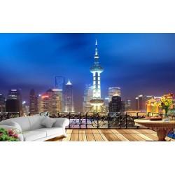 Papier peint photo trompe l'œil effet 3D - La nuit à Shang Hai - Extension d'espace