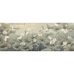 Peinture asiatique ancienne - Les lotus dans l'étang avec les oiseaux