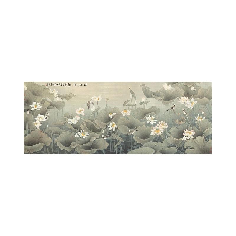 peinture asiatique ancienne papier peint chinois tapisserie num rique les lotus et les oiseaux. Black Bedroom Furniture Sets. Home Design Ideas