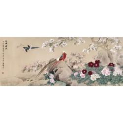 Peinture asiatique - Les pivoines, les cerisiers, les magnolias et les oiseaux