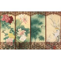 Tapisserie asiatique - Paravent aux fleurs et aux oiseaux - Fond beige