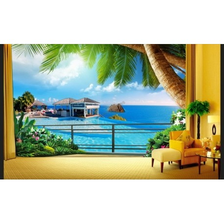 papier peint trompe l 39 il 3d paysage mer tropicale maison de vacances. Black Bedroom Furniture Sets. Home Design Ideas