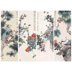 Peinture à l'encre de Chine - Composition de 4 tableaux de fleurs et oiseaux fond beige