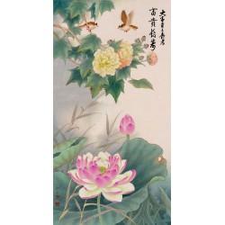 Tapisserie numérique style chinois - Les lotus, les roses de Chine et les oiseaux