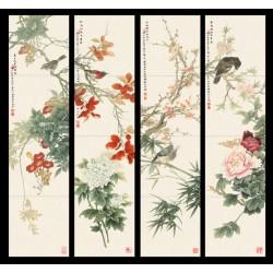 Papier peint asiatique - Composition de 4 tableaux de fleurs et oiseaux fond beige cadre noir