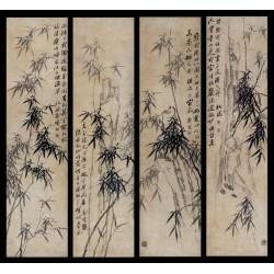 Peinture asiatique ancienne - Composition de 4 tableaux de bambou et calligraphie en noir et blanc